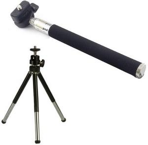 Techvik Adjustable Mini Camera Stand Monopod Stick And Metal Tripod Kit