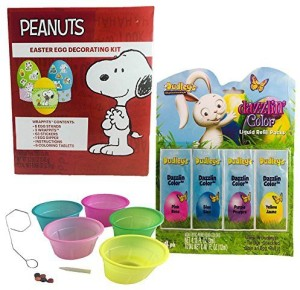 Paper Magic Peanuts Snoopy Easter Egg Decorating Kit With Coloring Cups And  Dazzlin Liquid Egg Dye Bundle