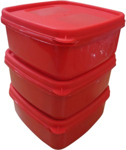 DCS Fresh Microware Red Color Safe Storage Containers (3Pcs Set)  - 400 ml Plastic Multi-purpose Storage Container