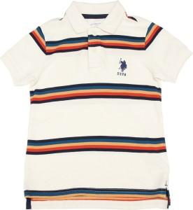 1a38586400 U S Polo Kids Boys Solid Cotton T Shirt