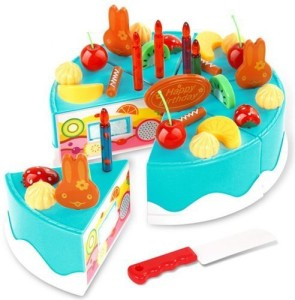 AUCH Magical Rainbow Cake Play Food Set Kids Gift Birthday With Cutting Knife Blue 37Pcs Best Price In India