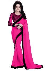 a7a1c133fe936 Saumya Designer Plain Solid Bollywood Georgette Saree Black Pink ...