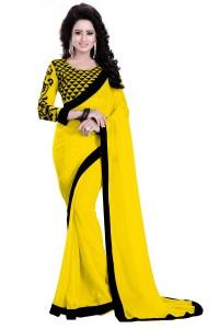 542a49b80ef07 Saumya Designer Plain Solid Bollywood Georgette Saree Black Yellow ...