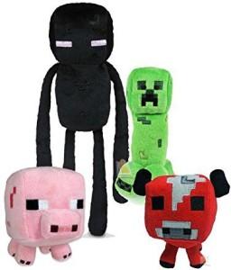 Finejo Plush Figure Set Of 4 Includes: Creeper,Enderman,Baby Mooshroom Cow,Baby Pig  - 7 inch
