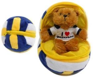 Plushland Round Zippered Volleyball Bear  - 3.3 inch