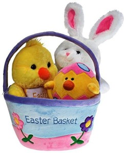 DWS Plush Easter Basket For Baby - Toddler & Kids Of All Ages. Set Includes Plush Easter Bunny  - 7.1 inch