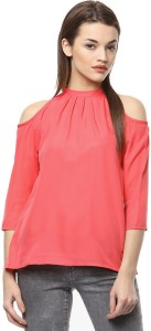 The Bebo Casual 3/4th Sleeve Solid Women's Pink Top