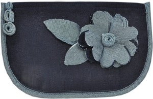 USE ME Use Me Two Tone Navy Blue Denim, Scrap Flower Pouch for Women | Multiutility |Travel Kit | Cute Pencil Purse Cosmetic Bag