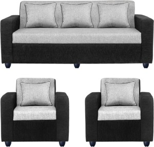 Bharat Lifestyle Fabric 3 + 1 + 1 Black Sofa Set
