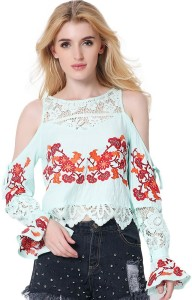 2bbf3c785 AMNOR Casual Full Sleeve Lace Floral Print Women s Light Green Top