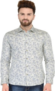 Being Fab Men's Floral Print Casual Brown Shirt