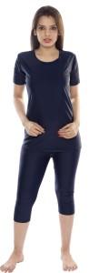 Carrel Round Neck T shirt & Capri Swimwear Set Solid Women's Swimsuit