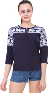 Myshka Party 3/4th Sleeve Solid Women's Blue Top