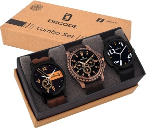 Decode Combo of 3 Fashionable watches Analog-Digital Watch  - For Men
