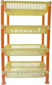 DCS Multipurpose Square Shape 4 Layer Fruits Vegetable Kitchen Rack Storage Stand(Orange & Yellow )(45x30x89cm)Big Size Plastic Kitchen Rack
