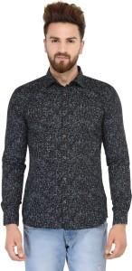 Being Fab Men's Geometric Print Casual Black Shirt