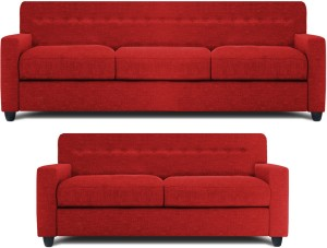 Dolphin Solitaire Fabric 3 + 2 Red Sofa SetConfiguration - Straight