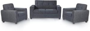 Furnicity Fabric 2 + 1 + 1 Grey Sofa Set