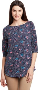 Ruhaan's Casual 3/4th Sleeve Floral Print Women's Multicolor Top
