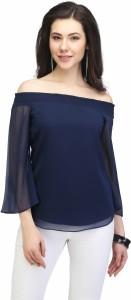Eavan Casual Bell Sleeve Solid Women Dark Blue Top