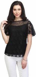 Eavan Casual Half Sleeve Lace Women Black Top