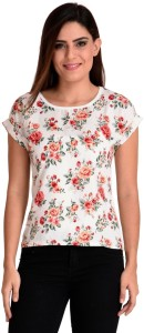 BuyNewTrend Casual Cap Sleeve Floral Print Women's Multicolor Top