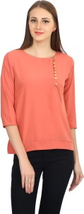 Funku Fashion Casual 3/4th Sleeve Solid Women's Pink Top