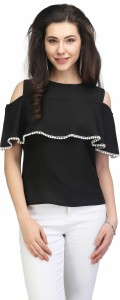 Eavan Casual Sleeveless Solid Women Black Top