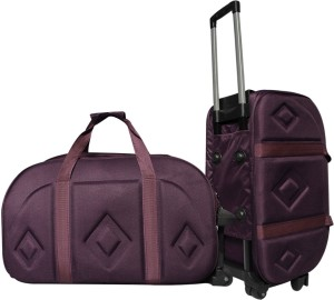 AdevWorld Stylish Polyes-foam Purple Luxury Duffel Strolley Bag