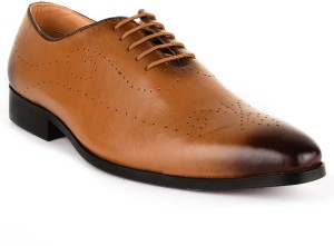 Buckle Up Formal Leather Shoes Lace Up Tan Best Price In India