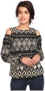The Bebo Casual Half Sleeve Printed Women's Black Top