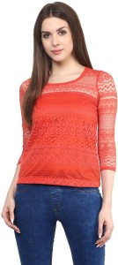 Mayra Party 3/4th Sleeve Solid Women's Pink Top