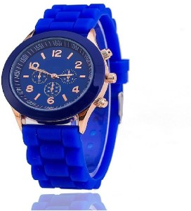 Tick Tock Chronograph Dial Design Blue Strap Analog Watch  - For Women