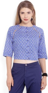 Biba Casual 3/4th Sleeve Printed Women Blue Top
