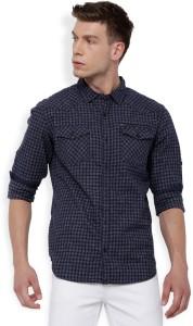 Locomotive Men's Checkered Casual Dark Blue, Grey Shirt