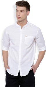 Locomotive Men's Solid Casual White Shirt