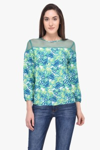 Mayra Party 3/4th Sleeve Printed Women's Green Top