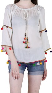 LEO Casual 3/4th Sleeve Embroidered Women White Top