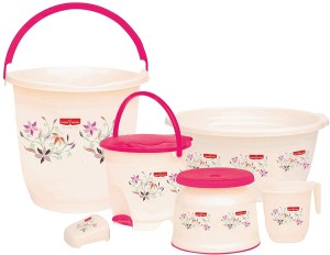 Princeware Charming Bath Set 16 L Plastic Bucket Multicolor Best