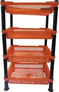 DCS Multipurpose Square Design 4 Layer Fruits Vegetable Kitchen Rack Storage Stand(Orange) Plastic Kitchen Rack