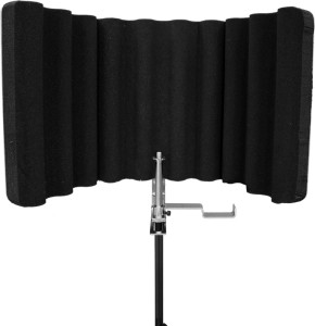 MX Professional Sound Shield Compact Folding Vocal Reflection Filter with Baffle for Mobile Audio Recording (Mic Stand Mount) Microphone Holder