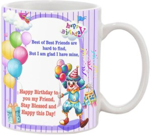 JMDPrints Personalized HAPPY BIRTHDAY BEST FRIEND Printed White Ceramic Coffee To Gift Mug