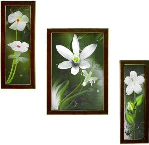 Gallery99 Brown Golden Frame Floral (With Glass & Frame) Digital Reprint  Painting19 inch x 13 5 inch