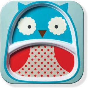 Skip Hop Baby Zoo Little Kid and Toddler Melamine Feeding Divided Plate,  Multi Otis Owl Dinner PlatesPack of 1