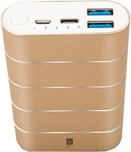 Iball PB-7503C ZooooooP Type C- 2.4A Dual USB Fast Charging -Gold-Free USB C Cable 7500 mAh Power Bank