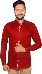 VERO LIE Men's Solid Casual Linen Maroon Shirt
