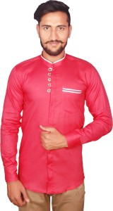 Duenite Men's Solid Casual Pink Shirt