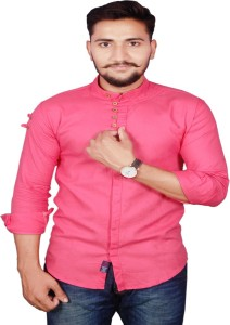 vero lie Men's Solid Casual Pink Shirt