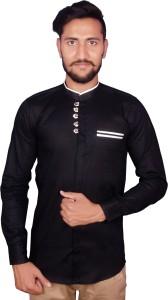 Duenite Men's Solid Casual Black Shirt