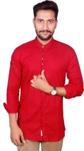 Duenite Men's Solid Casual Red Shirt